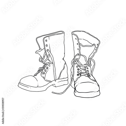 Fotomural soldier leather army boot vector