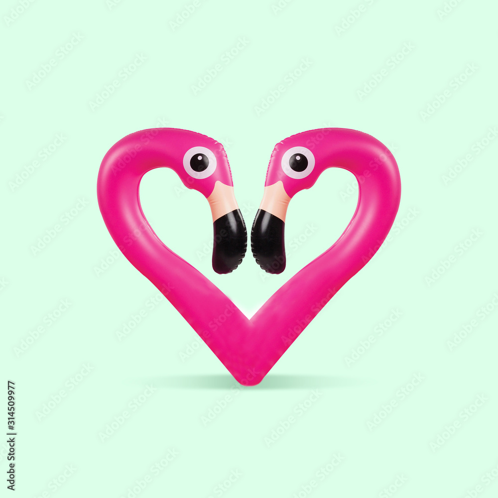 Fototapeta Card for Saint Valentine's Day. Pink flamingo shaped of heart on green background. Copyspace. Modern design. Contemporary colorful and conceptual bright art collage. Romantic, love concept.