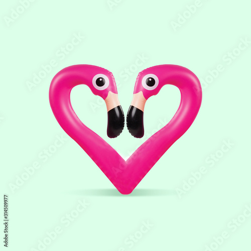 Obraz Card for Saint Valentine's Day. Pink flamingo shaped of heart on green background. Copyspace. Modern design. Contemporary colorful and conceptual bright art collage. Romantic, love concept. - fototapety do salonu