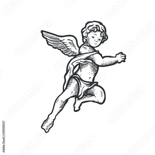 Fotomural Angel cupid cherub vector drawing