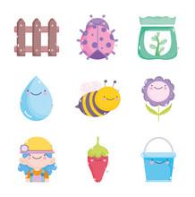 Kawaii Gardening Cartoon Characters Tools Collection