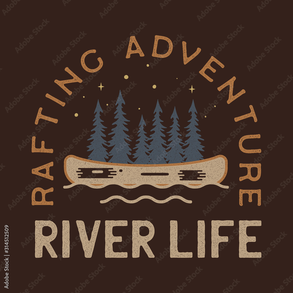 Fototapeta River Life Logo Design. Rafting adventure badge patch. Camp design for t-shirt, other prints. Outdoor insignia label. Stock vector