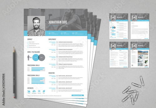 Resume Cover Letter Portfolio Layout with Blue Accents ...