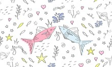 Cute Fish Seamless Pattern. Ha...