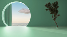 Imaginary Fictional Architecture, Interior Design Of Empty Space With Round Arched Window With Curtain, Concrete Teal Walls, Potted Pine Tree, Sunrise Sunset Sea Panorama With Cloud
