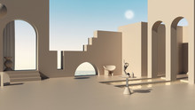 Imaginary Fictional Architecture, Dreamlike Empty Space, Design Of Exterior Terrace, Concrete Rosy Walls, Arched Windows, Pools, Table With Hand Figurine, Sea Panorama, Scenery