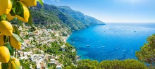Beautiful Positano And Clear Blue Sea On Amalfi Coast In Campania, Italy. Amalfi Coast Is Popular Travel And Holyday Destination In Europe.