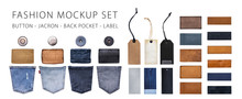 Jeans And Denim Label Set Mockup, Button, Jacron, Back Pocket And Label Tag. Isolated Background