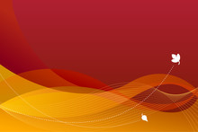 Abstract Autumn Background, Seasonal Backdrop With Brown, Red, Orange And Yellow Colors, Waves And Curly Lines