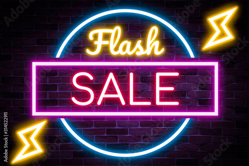 Neon flash sale banner, discount product, advertising, marketing banner.