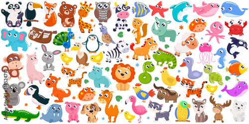 Big set of cute cartoon animals. Vector illustration.