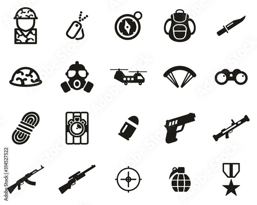 Fotomural  Commandos Or Special Forces Icons Black & White Set Big