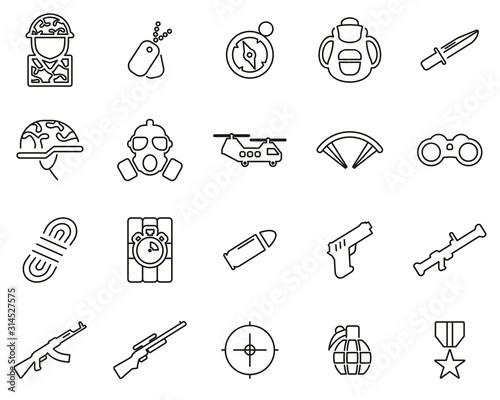 Fotografía  Commandos Or Special Forces Icons Thin Line Set Big