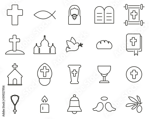 Christianity Religion & Religious Items Icons Thin Line Set Big Fotomurales
