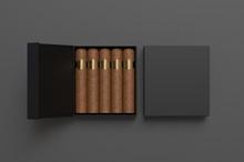 Blank Cigars In Hard Paper Box Template For Mock Up, 3d Render Illustration.