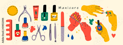 Fotomural Female hands and Various manicure accessories, equipment, tools