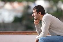 Happy Man Contemplating Views ...