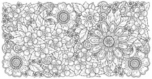 Mix Doodle Flowers Drawing Vector Illustration And Clip-art. Cherry Blossom, Poppy, Stylish Floral Pattern For Adult Coloring Or Bullet Journal Page.