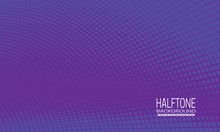 Halftone Background Design With Purple Blue Web. Monochrome Abstract Cover Template Of Editable Colors.