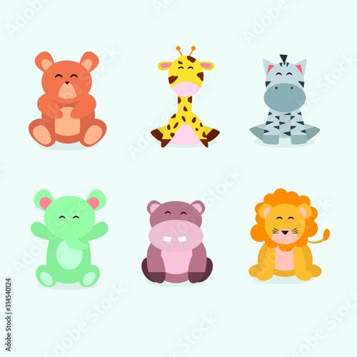 cute animals ilustration collection. flat design illustration #314540124