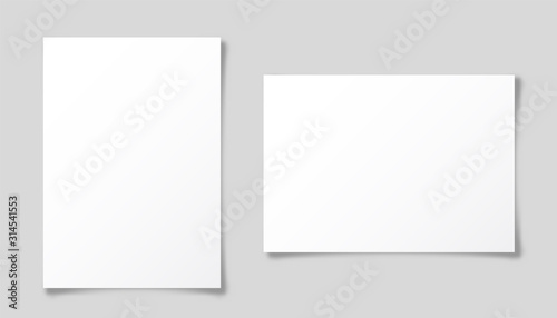 Realistic blank paper sheet with shadow in A4 format isolated on gray background. Notebook or book page. Design template or mockup. Vector illustration.