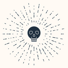 Grey Skull Icon Isolated On Be...