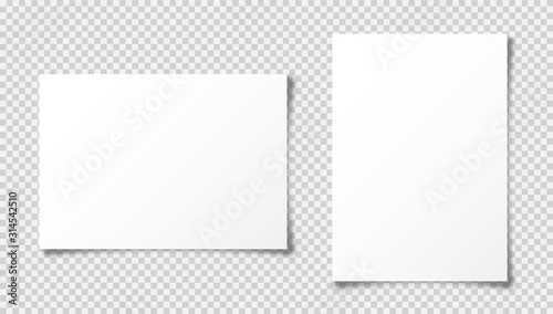 Obraz Realistic blank paper sheet with shadow in A4 format isolated on transparent checkered background. Notebook or book page. Design template or mockup. Vector illustration. - fototapety do salonu