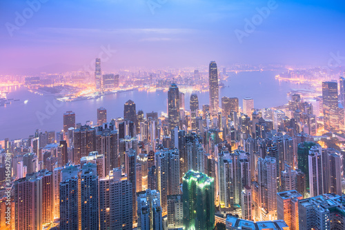 Hong Kong skyline view from Victoria peak before sunrise. Wallpaper Mural
