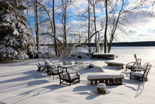 Beautiful Midwest Snowy Winter Nature Background. Scenic Rural View With Covered By Fresh Snow Backyard Of The Private House With Outdoor Furniture. Wisconsin Countryside, Wausau Area.