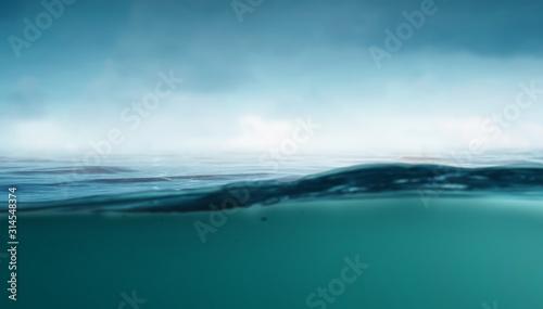 Fototapeta Clear underwater background . Mixed media obraz