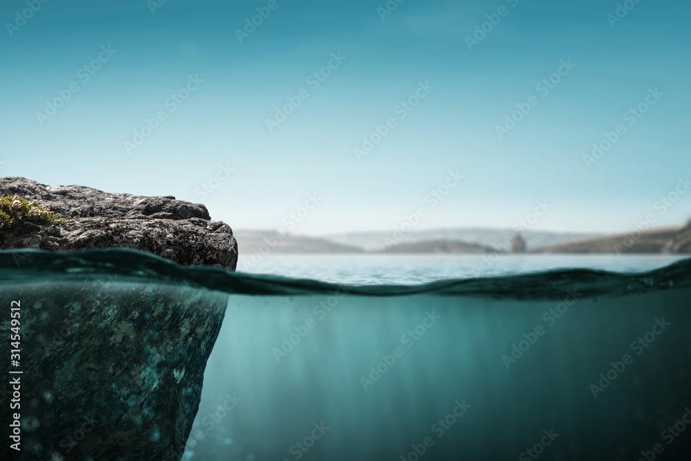 Fototapeta Clear underwater background . Mixed media