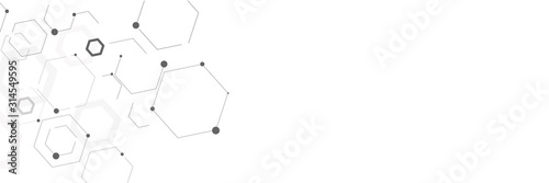 Fototapety, obrazy: Wireframe abstract polygonal element with lines and dots