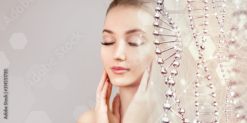 Obraz Beautiful sensual woman and glass DNA stems. - fototapety do salonu