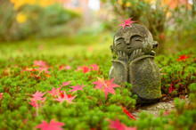 Red Maple Leaf On Head Of Jizo...