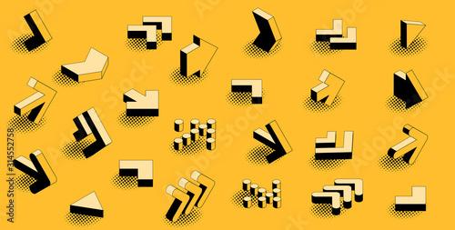 Flat design black an yellow retro comic style isometric arrow icon set Fototapet