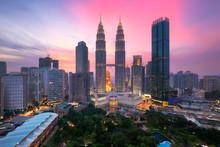 Kuala Lumpur Skyline At Dusk, ...