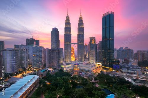 Kuala lumpur skyline at dusk, Cityscape of kuala lumpur city the center of business Wallpaper Mural