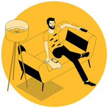 Flat Design Isometric Concept Of Young Man On Sofa Watching Smart Tv. Vector Illustration Poster And Banner Template For Online Tv, Series, Muvie And Sinema Subscription And Mobile App.