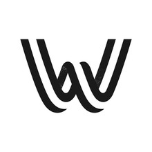 W Letter Logo Formed By Two Pa...