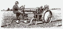 Farmer Driving Antique Tractor Plow In A Field. Illustration After An Engraving From The Early 20th Century