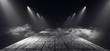 canvas print picture Smoke Myst Dark Spotlight Catwalk White Dance Floor Club Neon Lasers Fog Empty Garage Cyber Spaceship Underground 3D Rendering
