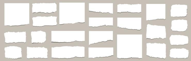 Torn sheets of paper. Torn paper strips set. Vector illustration