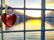 Love Lock With Sunset In Backg...