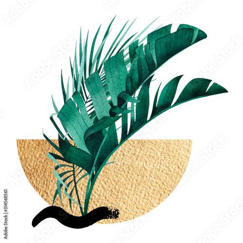 abstrakcyjna-kompozycja-tropikalnej-rosliny-bananowca-i-liscia-palmowego-pociagniecia-pedzlem-zlote-figury-geometryczne