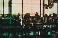 Silhouettes Of People On Airport, Travel Concept Background  -