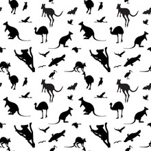 Seamless Vector Background With Australian Animals Silhouettes