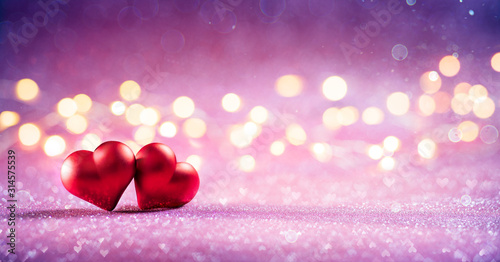 Obraz Couple Red Hearts On Pink Glitter With Bokeh Lights - fototapety do salonu