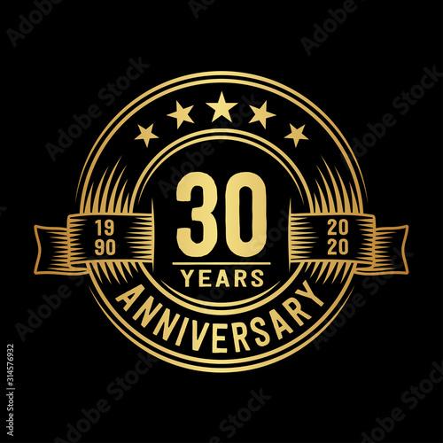 Obraz 30 years anniversary celebration logotype. Vector and illustration. - fototapety do salonu