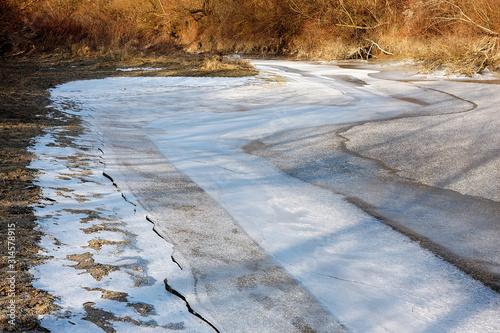 Fotografie, Obraz Ice and snow the Drava River