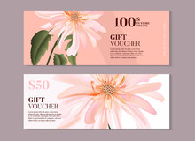 Elegant Magnolia Flower Gift Voucher Template In Vector. Hand-drawn Business Concept For Banner, Beauty Salon, Spa, Handmade Products, Eco Packaging Design